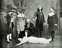 The Tales of Hoffmann – scene from the premiere, showing Adèle Isaac as the dead Antonia, with (l. to r.) Hippolyte Belhomme, Marguerite Ugalde, Pierre Grivot, Émile-Alexandre Taskin, and Jean-Alexandre Talazac