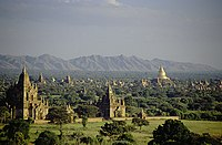 Pagodas and kyaungs in present-day Bagan, the capital of the Pagan Kingdom.