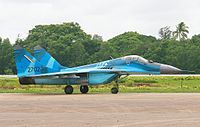 A Myanmar Air Force Mikoyan MiG-29 multirole fighter.