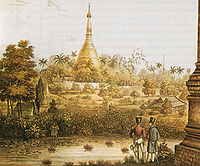 A British 1825 lithograph of Shwedagon Pagoda shows British occupation during the First Anglo-Burmese War.
