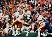 The Washington Football Team is one of six home teams that chose to wear the white jersey, shown here in Super Bowl XVII.