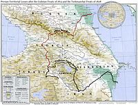 A map showing the 19th-century northwestern borders of Iran, comprising modern-day eastern Georgia, Dagestan, Armenia, and the Republic of Azerbaijan, before being ceded to the neighboring Russian Empire by the Russo-Iranian wars