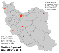 Iran's most populated cities (2010)