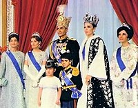 Mohammad Reza Pahlavi and the Imperial Family during the coronation ceremony of the Shah of Iran in 1967