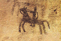 A cave painting in Doushe cave, Lorestan, from the 8th millennium BC