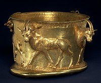 Iron Age gold cup from Marlik, kept at New York City's Metropolitan Museum of Art