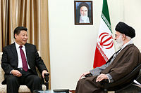 Ali Khamenei, the Supreme Leader of Iran, meeting with his counterpart, China's paramount leader Xi Jinping on 23 January 2016. Iran and China are strategic allies.