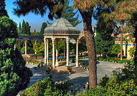 Tomb of Hafez, the medieval Persian poet whose works are regarded as a pinnacle in Persian literature and have left a considerable mark on later Western writers, most notably Goethe, Thoreau, and Emerson