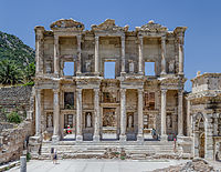 The Library of Celsus in Ephesus was built by the Romans in 114–117. The Temple of Artemis in Ephesus, built by king Croesus of Lydia in the 6th century BC, was one of the Seven Wonders of the Ancient World.