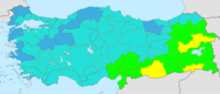 Turkey total fertility rate by province (2019)