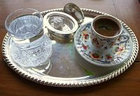 Turkish coffee with Turkish delight. Turkish coffee is a UNESCO-listed intangible cultural heritage of Turks.