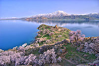Lake Van and the Armenian Church of Akhtamar. Van is the largest lake in the country and is located in the Armenian Highlands.