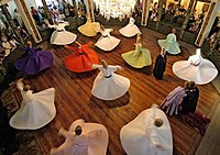 Whirling Dervishes of the Sufi Mevlevi Order, founded by the followers of the 13th-century Sufi mystic and poet Rumi in Konya, during a Sema. The ceremony is one of the 11 elements of Turkey on the UNESCO Intangible Cultural Heritage Lists.