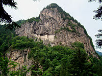 Sumela Monastery in the Pontic Mountains, which form an ecoregion with diverse temperate rainforest types, flora and fauna in northern Anatolia.