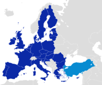 After becoming one of the early members of the Council of Europe in 1950, Turkey became an associate member of the EEC in 1963, joined the EU Customs Union in 1995 and started full membership negotiations with the European Union in 2005.