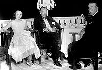 Mustafa Kemal Atatürk, founder and first President of the Turkish Republic, with the Liberal Republican Party leader Fethi Okyar (right) and Okyar's daughter in Yalova, 13 August 1930.