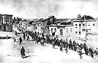 Armenian civilians being deported during the Armenian Genocide