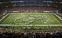Formation of the state by the Pride of West Virginia marching band during the 2006 Sugar Bowl.