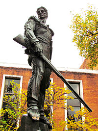 The Mountaineer statue located on the West Virginia University campus.
