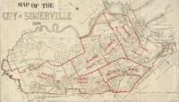 1884 map of Somerville demarcating each of the wards within the city