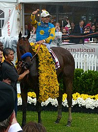 American Pharoah with Victor Espinoza up