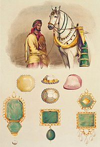 One of Ranjit Singh's favourite horses with the head of his stables. His jewels are shown, to scale, including the Koh-i-Noor (top centre).