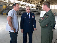 Jon Favreau meeting with members of the U.S. Air Force while filming at Edwards Air Force Base
