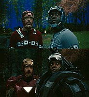 Robert Downey, Jr. and Don Cheadle in their suits, before and after ILM's CGI enhancements