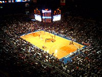 The Knicks in action at Madison Square Garden in the 2008–09 season.
