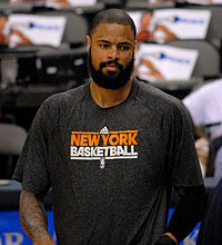 Tyson Chandler played for the Knicks from 2011 to 2014, earning the NBA Defensive Player of the Year Award in the 2011–12 season