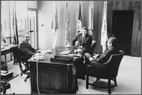 Wayne meets with President Richard Nixon and Henry Kissinger in San Clemente, California, July 1972