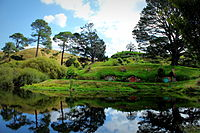 The Hobbiton Movie Set, located near Matamata, was used for The Lord of the Rings film trilogy.