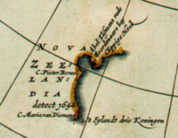 """Detail from a 1657 map showing the western coastline of """"Nova Zeelandia"""". (In this map, north is at the bottom.)"""