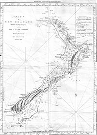 Map of the New Zealand coastline as Cook charted it on his first visit in 1769–70. The track of the Endeavour is also shown.