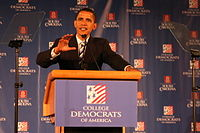 Barack Obama speaking to College Democrats of America in 2007.