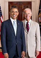 Barack Obama and Joe Biden, 44th and 46th Presidents of the United States (2009–2017, 2021–present).