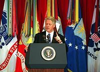 Bill Clinton, 42nd President of the United States (1993–2001), at The Pentagon in 1998.