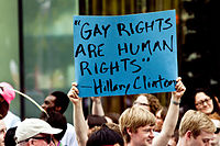 """Gay Rights are Human Rights"", a quote by Democratic Secretary of State and Senator from New York Hillary Clinton"