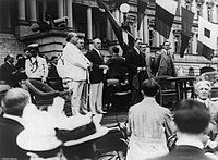 Leaders of the Democratic Party during the first half of the 20th century on 14 June 1913: Secretary of State William J. Bryan, Josephus Daniels, President Woodrow Wilson, Breckinridge Long, William Phillips, and Franklin D. Roosevelt