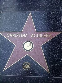 Aguilera's star on the Hollywood Walk of Fame, which she received in 2010