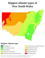 Köppen climate types in New South Wales