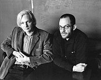 """Julian Assange (left) with Daniel Domscheit-Berg who was ejected from WikiLeaks and started a rival """"whistleblower"""" organisation named OpenLeaks."""