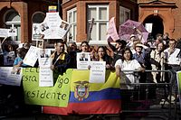 WikiLeaks supporters protest in front of the Ecuadorian embassy in London