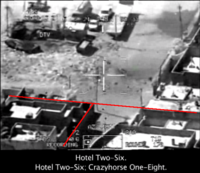 Gun camera footage of the airstrike of 12 July 2007 in Baghdad, showing the slaying of Namir Noor-Eldeen and a dozen other civilians by a US helicopter.