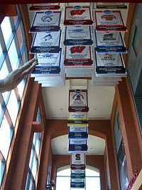 2006 NCAA championship banners hang from the ceiling of the NCAA Hall of Champions in Indianapolis