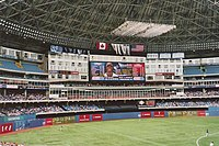 Interior of the stadium in 2005. Rogers refurbished several parts of the stadium after its acquisition, including replacing the Jumbotron with a Daktronics video display.