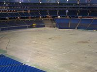 The stadium's field without its turf in 2006. The stadium's FieldTurf may be removed for events such as concerts and trade shows.