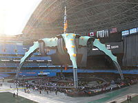Preparations taking place at the Rogers Centre before a U2 concert
