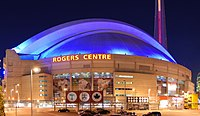 The roof of the Rogers Centre illuminated during the night in 2008