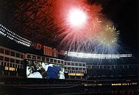Fireworks at the stadium after the Toronto Blue Jays win the 1993 World Series